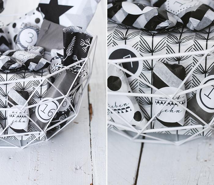 Adventskalender basteln DIY schwarz-weiß Seidenpapier