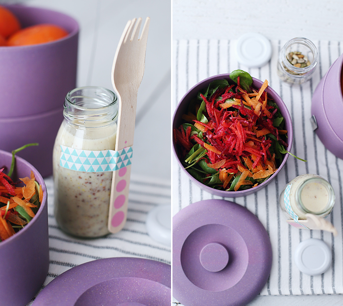 Salat Rote Bete Mittagspause Honig-Senf-Dressing