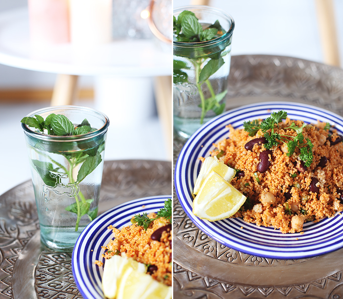 Couscous Kidneybohnen Kichererbsen Salat