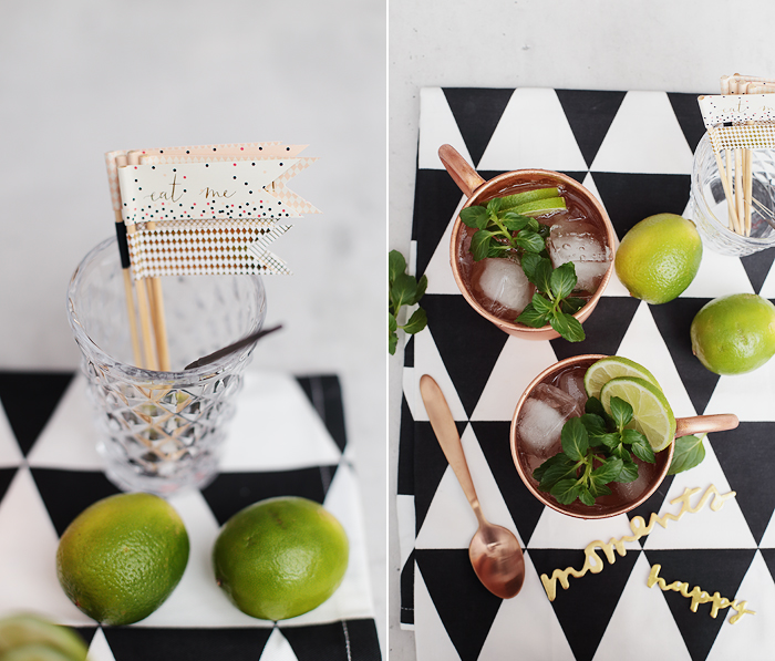 Moscow Mule Kupferbecher Ginger Ale Wodka Limette Minze Cocktail