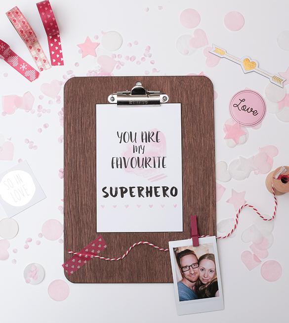 Free Print Printable gratis Druck You are my favourite Superhero Valentinstag