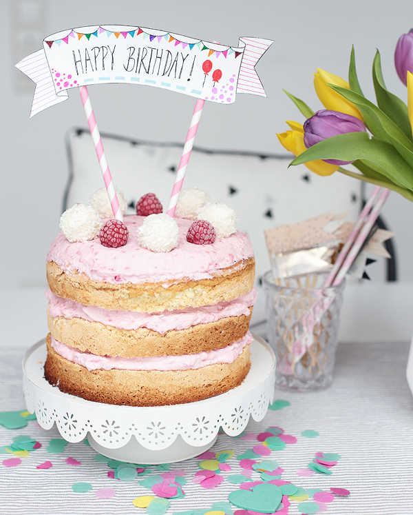 Naked Cake Kokostorte Himbeeren Geburtstag