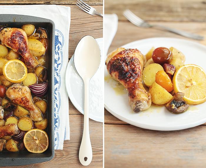 Sommerküche Hähnchen : Sommerküche: zitronenhähnchen mit kartoffeln champginons und