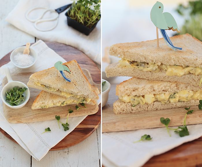 Sandwich mit Eiersalat und Kresse