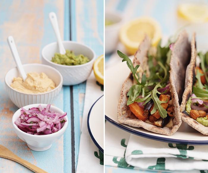 Vegane und glutenfreie Buchweizen-Tacos mit Hummus, Guacamole, Süßkartoffeln, Kichererbsen und Aubergine
