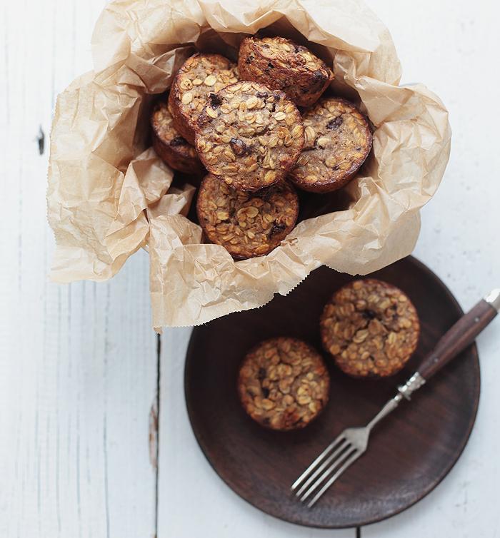 Müsli-Muffins mit Banane, Schokolade und Kokosöl