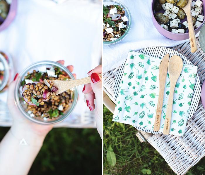 Linsensalat mit Reis, Radieschen und Feta pandoo