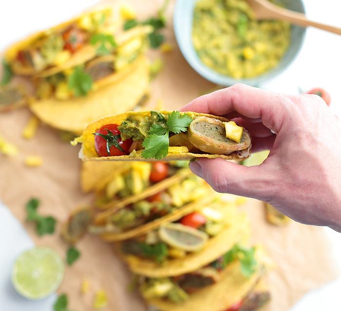 Rezept Maultaschen Tacos mit Mango-Avocado-Guacamole Bürger
