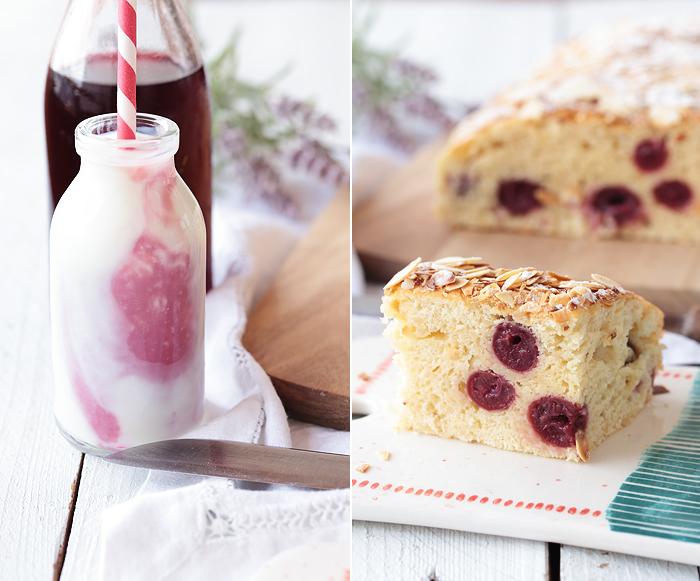 Buttermilch-Blechkuchen mit Kirschen, Vanille und Mandeln