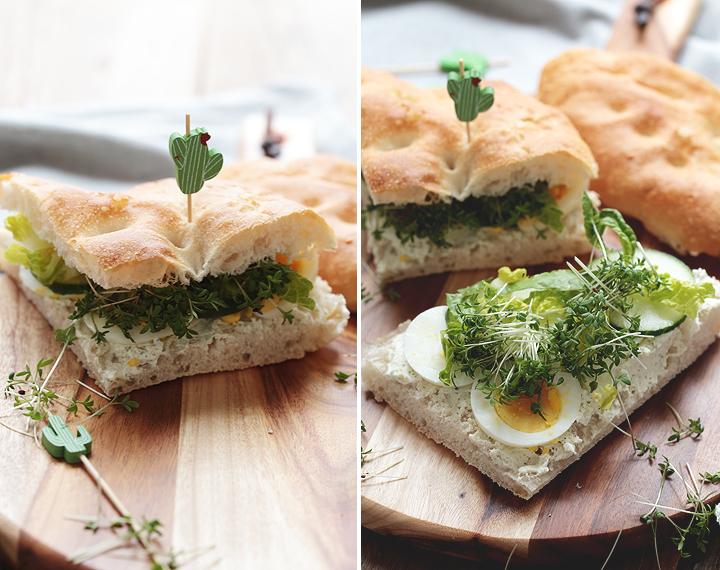 Fladenbrot mit Kräuterfrischkäse, Ei und Gurke